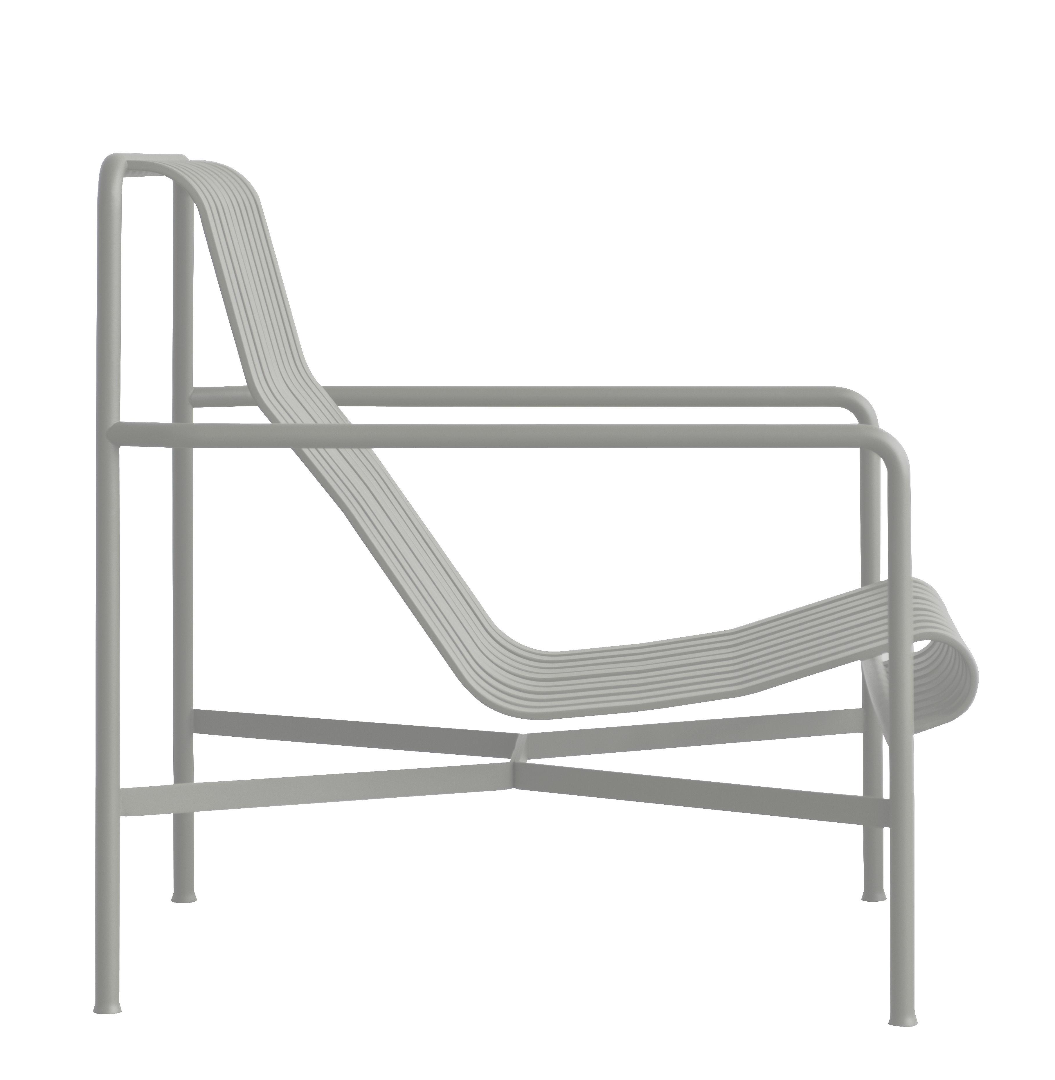Arredamento - Poltrone design  - Poltrona bassa Palissade / Schienale alto - R & E Bouroullec - Hay - Grigio chiaro - In acciaio elettro- zincato, peinture époxy