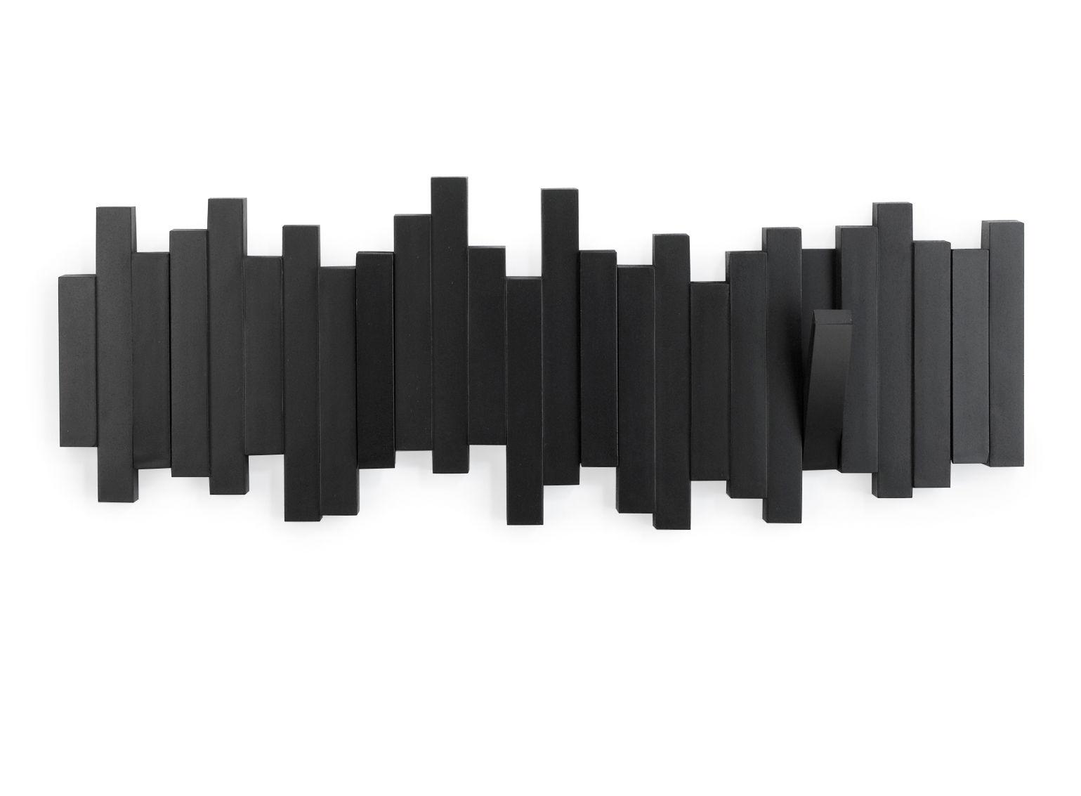 Mobilier - Portemanteaux, patères & portants - Portemanteau mural Sticks / 5 patères rabattables - L 48 cm - Umbra - Noir - Matière plastique