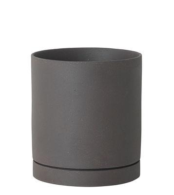 Pot de fleurs Sekki Large / Ø 15,7 x H 17,7 cm - Grès - Ferm Living gris anthracite en céramique