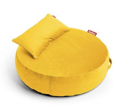 Pouf Pupillow Velvet / Velours - Ø 120 cm - Fatboy Ø 120 - Epaisseur 30 cm jaune en tissu