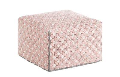 Furniture - Poufs & Floor Cushions - Silaï Small Pouf - 52 x 52 x H 35 cm by Gan - Pink - Wool