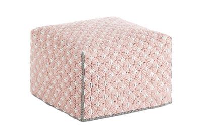 Arredamento - Pouf - Pouf Silaï Small / 52 x 52 x H 35 cm - Gan - Rosa - Lana