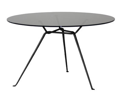 Furniture - Dining Tables - Officina Round table - Ø 120 cm - Glass by Magis - Smoked grey / Black legs - Soak glass, Varnished wrought iron