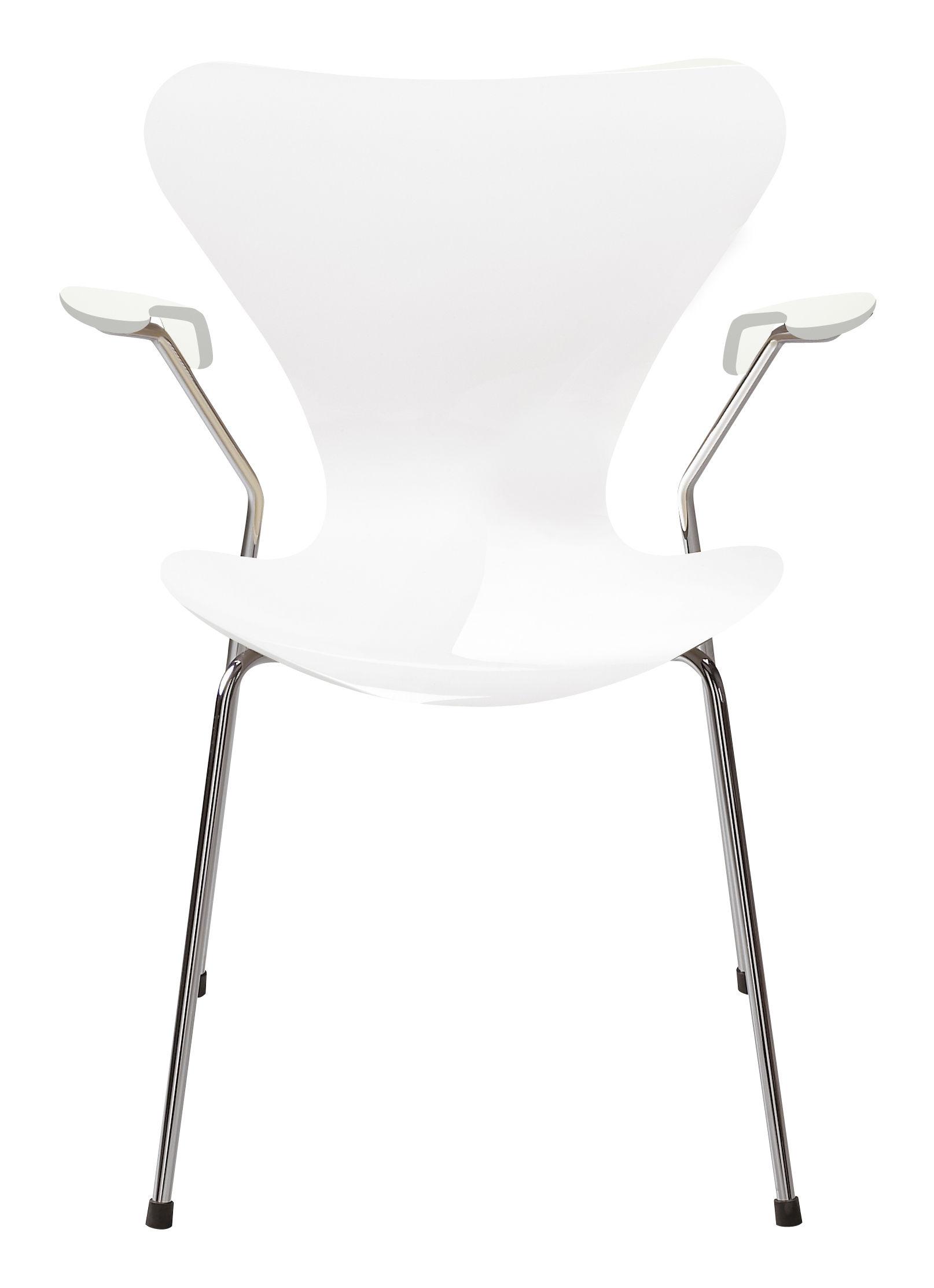 Möbel - Stühle  - Série 7 Sessel Holz lackiert - Fritz Hansen - Weiß lackiert - Contreplaqué de bois laqué, Stahl