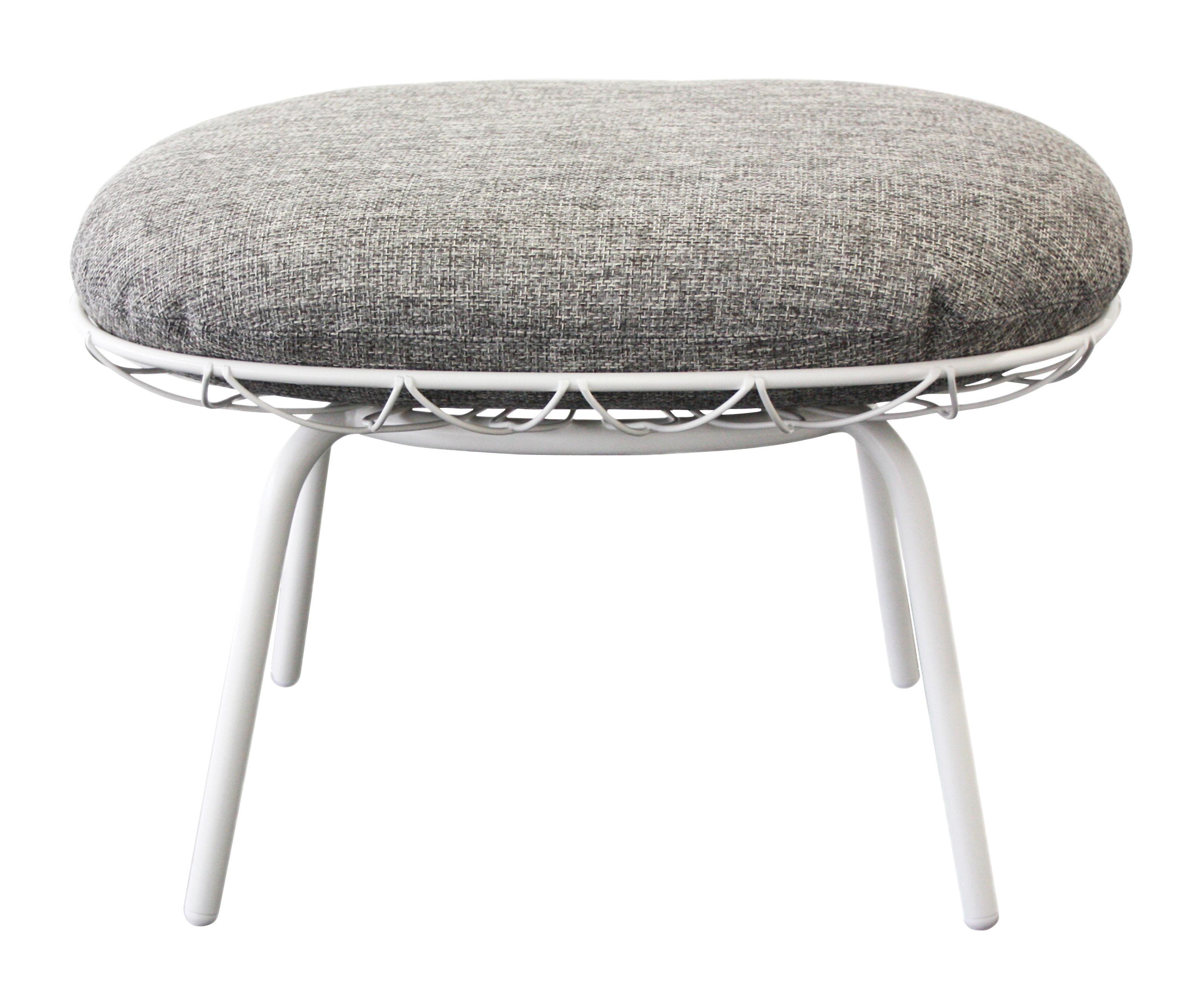 Möbel - Sitzkissen - Pina Outdoor Sitzkissen / Fußablage - mit Stoffbezug - Magis - Gestell weiß / Kissen grau - Expandiertes Polyurethanmousse, gefirnister Stahl, Gewebe
