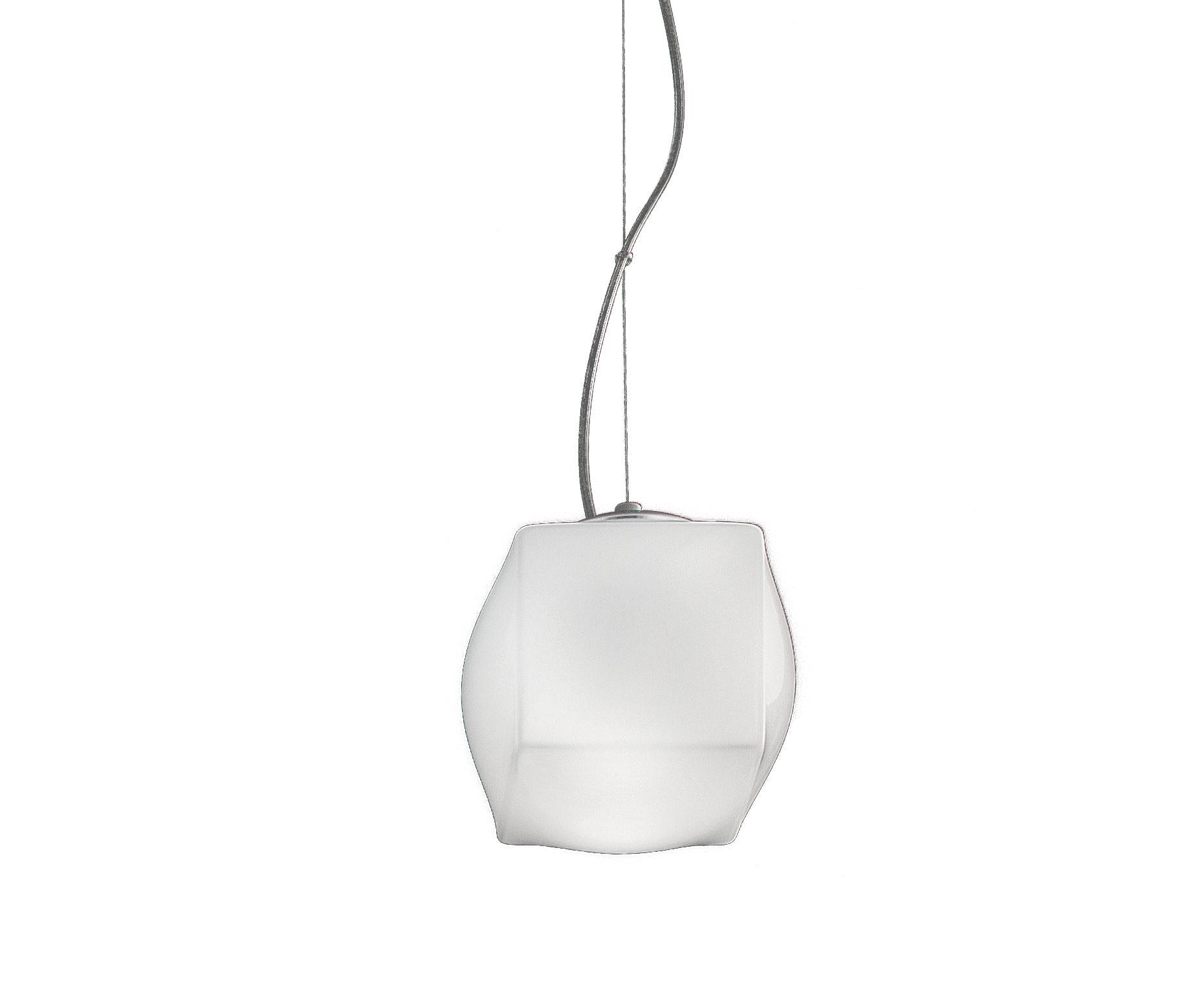 Illuminazione - Lampadari - Sospensione Macondo Small / Ø 15 cm - Nemo - Ø 15 cm / Bianco - Metallo cromato, Vetro soffiato a bocca