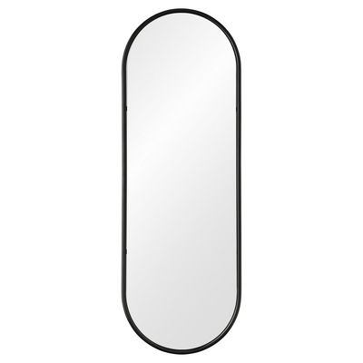 Interni - Specchi - Specchio murale Angui - / Asta appendiabiti integrata - L 50 x H 145 cm di AYTM - Antracite - Acciaio, Vetro
