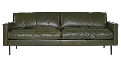 Furniture - Sofas - Ppno.1 Straight sofa - / Leather - 3 seats -  L 233 cm by Pols Potten - Leather / Khaki - Lacquered steel, Leather, Polyester
