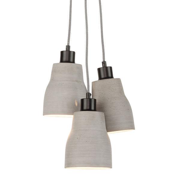 Luminaire - Suspensions - Suspension Cadiz Triple / 3 abat-jours - Effet béton - It's about Romi - Gris clair - Acier peint, Polystone