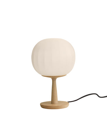 Lighting - Table Lamps - Lita Table lamp - / LED - Ø 18 cm by Luceplan - Wood & white / Ø 18 cm - Blown glass, Solid ash wood