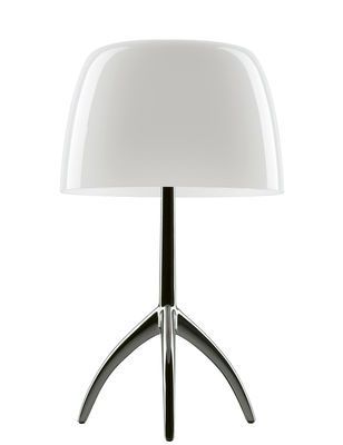 Lighting - Table Lamps - Lumière Piccola Table lamp - / H 35 cm by Foscarini - White - Leg : Black Chromed - Aluminium, Blown glass