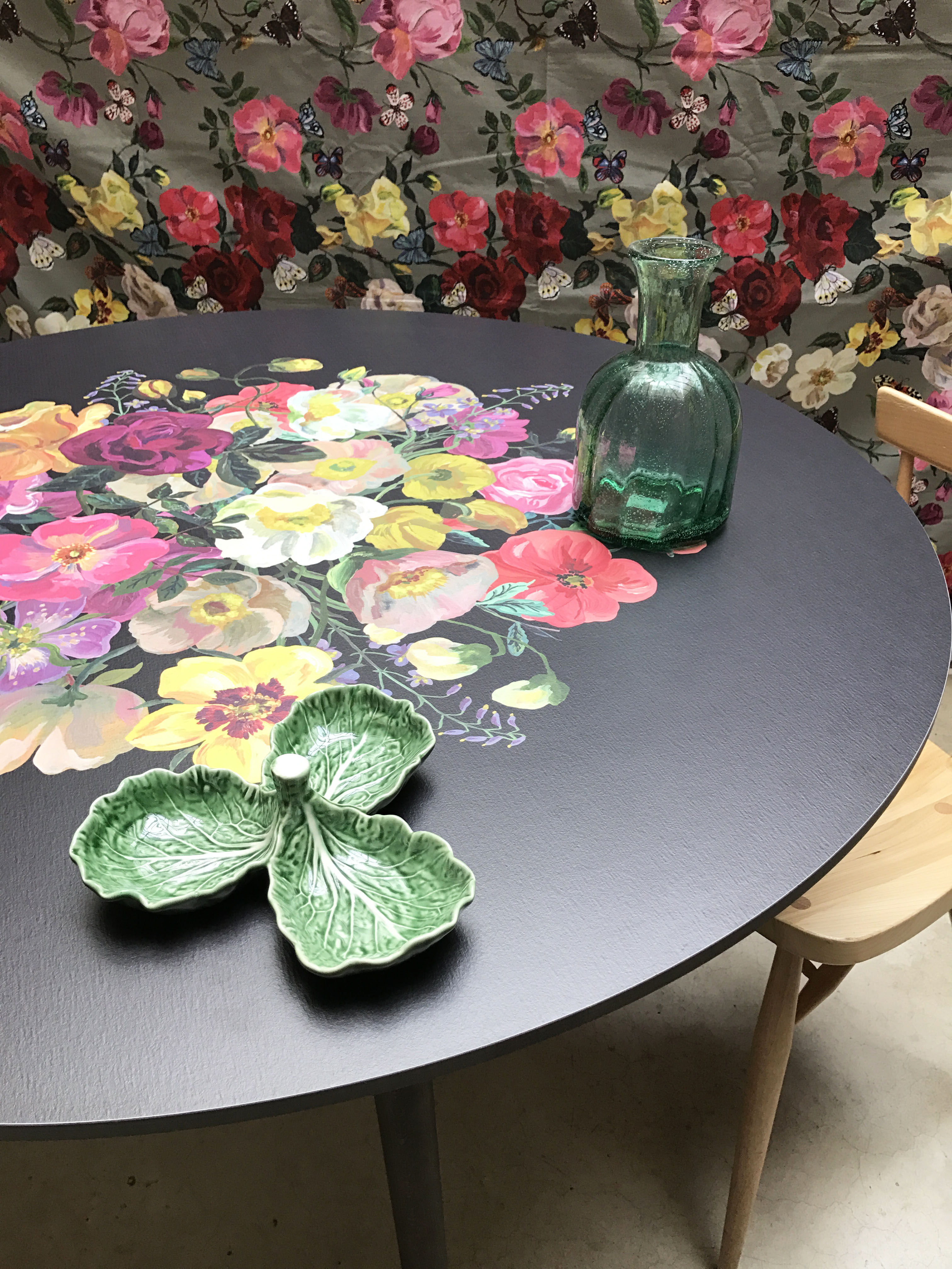 table royal bouquet bazar therapy - beige / fleurs multicolores - h