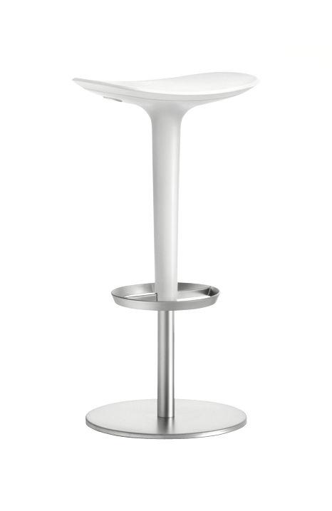 Mobilier - Tabourets de bar - Tabouret haut réglable Babar / Pivotant - Assise plastique - Arper - Structure acier satiné / Coussin et carénage blancs - ABS, Acier inoxydable satiné, Polyuréthane