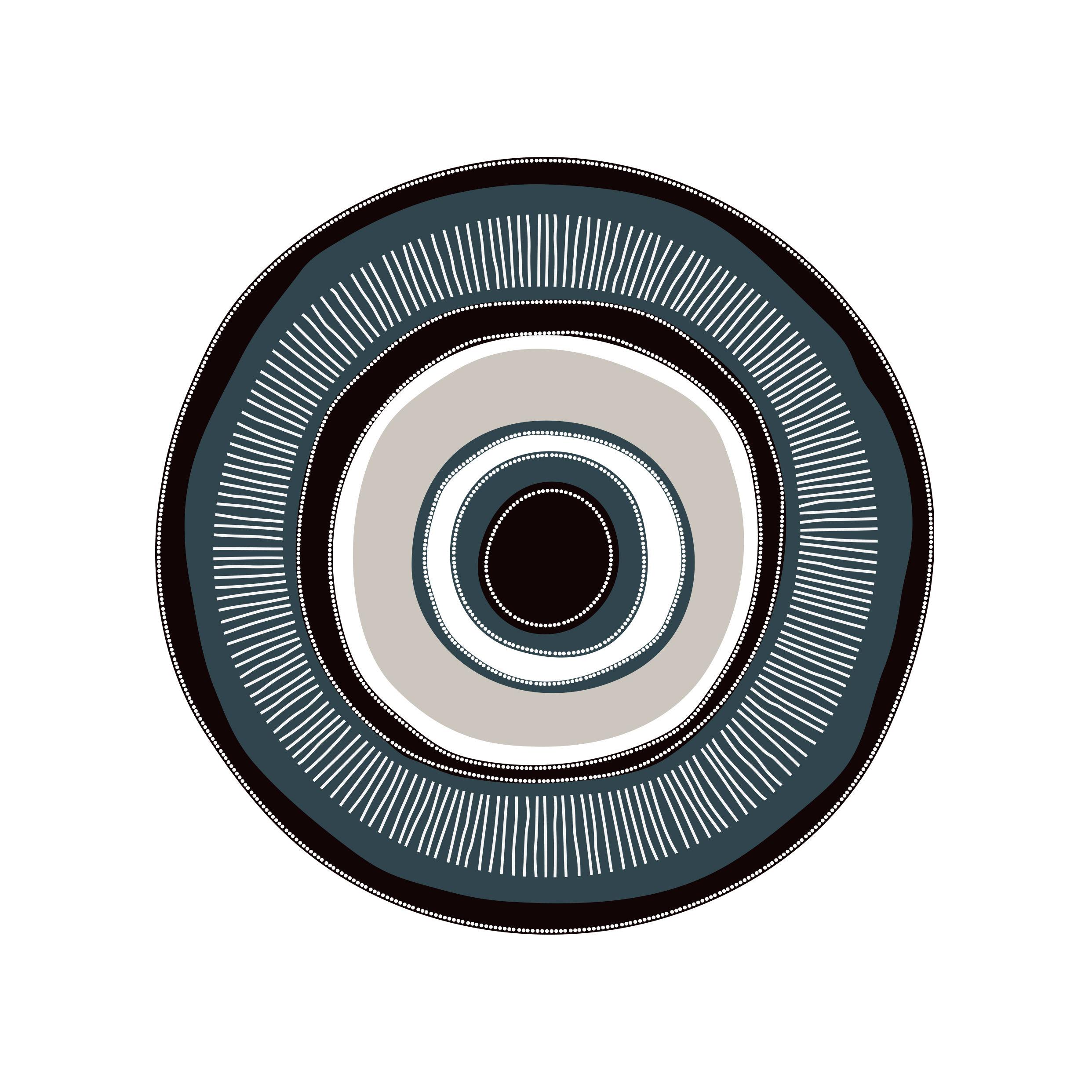 Outdoor - Déco et accessoires - Tapis Œil our œil / Ø 99 cm - Vinyle - PÔDEVACHE - Œil / Bleu, noir & gris - Vinyle