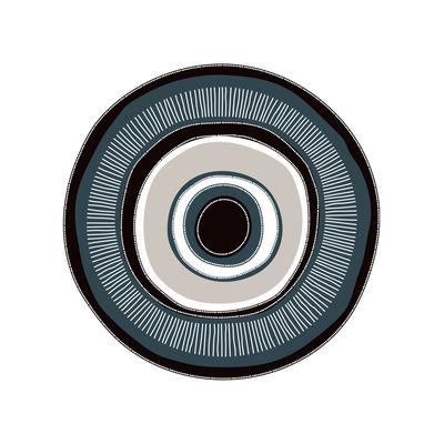 Outdoor - Decorazioni e accessori - Tappeto Œil our œil - / Ø 99 cm - Vinile di PÔDEVACHE - Occhio / Blu, neror & grigio - Vinile