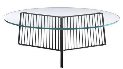 Arredamento - Tavolini  - Tavolino Anapo - / Ø 80 cm di Driade - Nero / Vassoio trasparente - Acciaio laccato, Vetro temprato