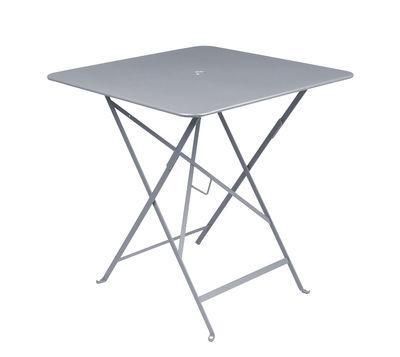 Outdoor - Tavoli  - Tavolo pieghevole Bistro - 71 x 71 cm - Pieghevole - Con foro per parasole di Fermob - Grigio tempesta - Acciaio laccato