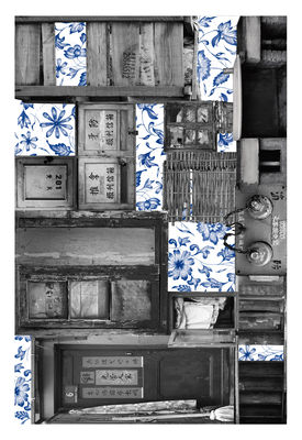 Dekoration - Teppiche - Remnant 2 Teppich / 300 x 200 cm - Moooi Carpets - Blau & grau - Polyamid