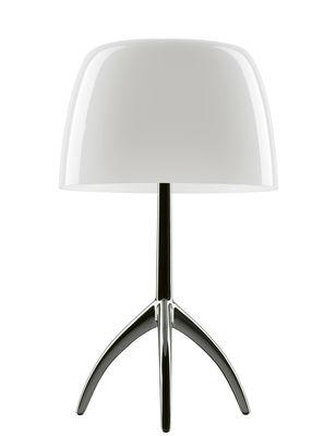 Leuchten - Tischleuchten - Lumière Piccola Tischleuchte / mit Dimmer - H 35 cm - Foscarini - Weiß / Fuß chromschwarz - Aluminium, geblasenes Glas