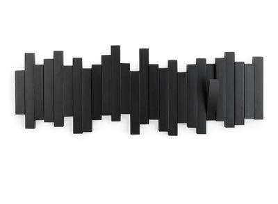 Möbel - Garderoben und Kleiderhaken - Sticks Wandgarderobe / 5 ausklappbare Garderobenhaken - L 48 cm - Umbra - Schwarz - Plastikmaterial