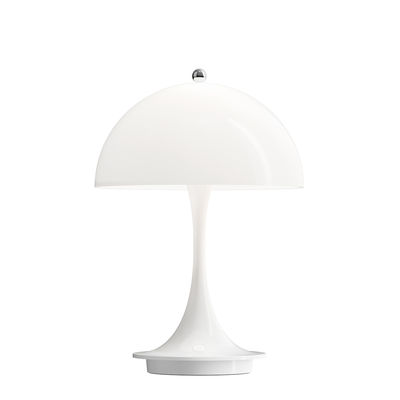 Lighting - Table Lamps - Panthella Portable LED Wireless lamp - / H 23 cm - Rechargeable USB by Louis Poulsen - Opaline white - Acrylic, Moulded aluminium