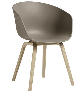 Furniture - Chairs - About a chair AAC22 Armchair - / Plastic & wood legs by Hay - Taupe  / Natural wood - Matt varnished oak, Polypropylene