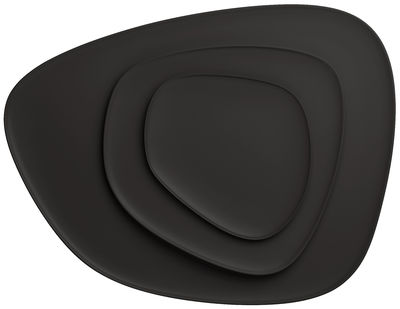 Assiette Namasté Plat Set de 3 pièces empilables Kartell noir en matière plastique