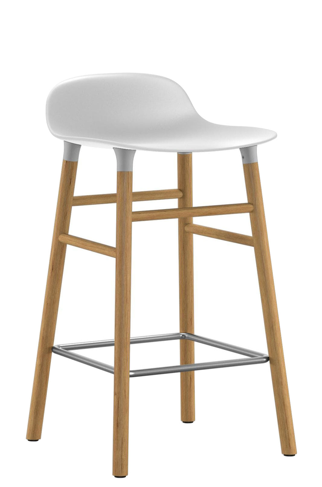Furniture - Bar Stools - Form Bar stool - H 65 cm / Oak leg by Normann Copenhagen - White / oak - Oak, Polypropylene