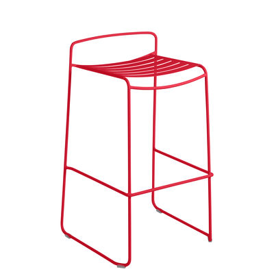 Furniture - Bar Stools - Surprising Bar stool - / Metal - H 78 cm by Fermob - Poppy red - Painted steel
