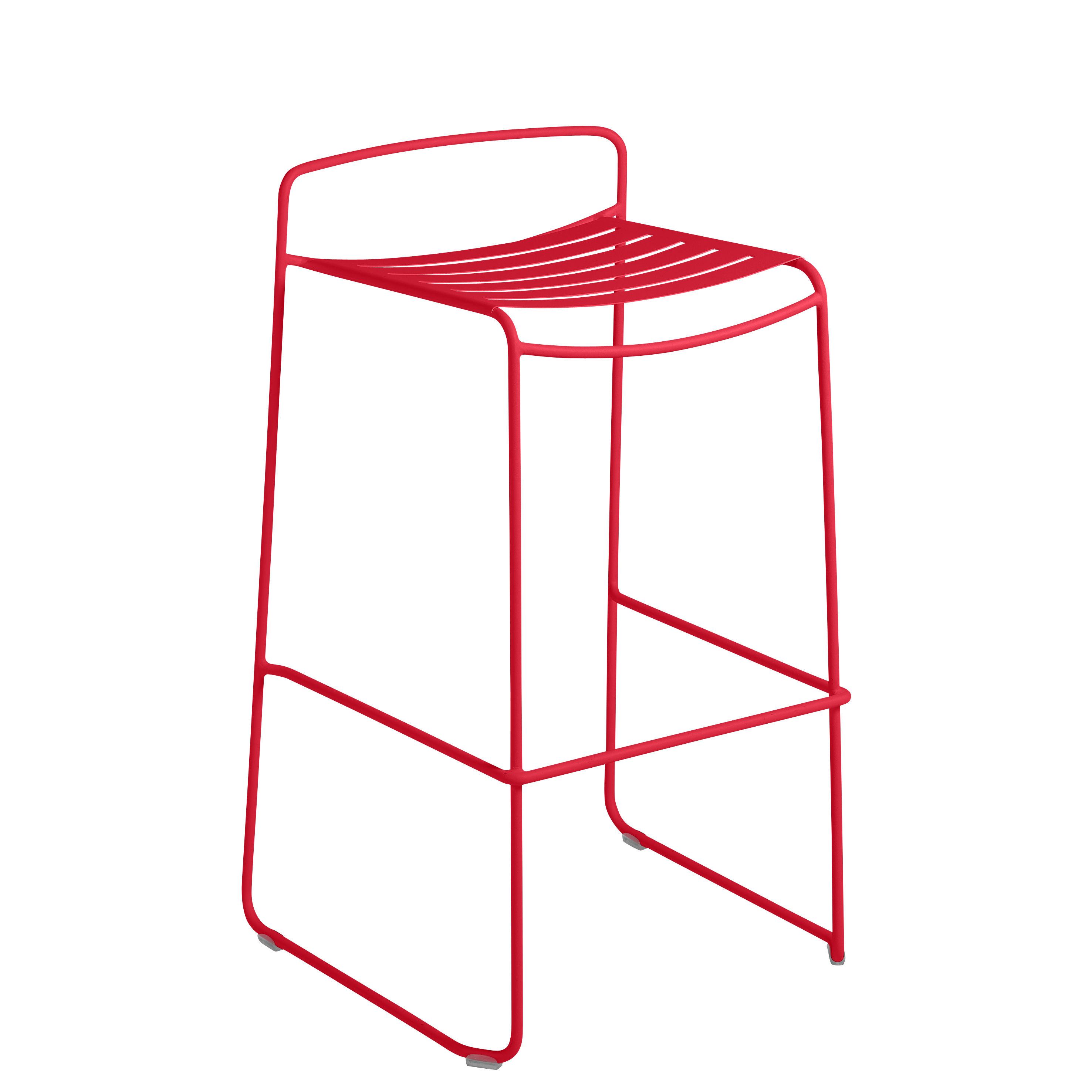 Möbel - Barhocker - Surprising Barhocker / Metall - H 78 cm - Fermob - Klatschmohnrot - bemalter Stahl