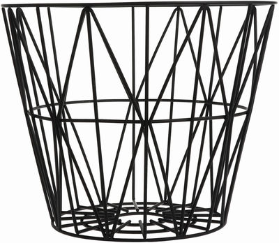 Decoration - For bathroom - Wire Large Basket - Ø 60 x H 45 cm by Ferm Living - Black - Lacquered wire