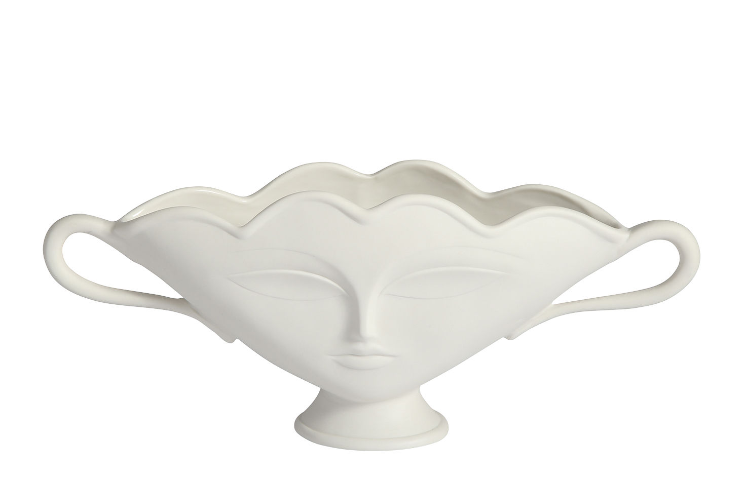 Decoration - Vases - Giuliette small Bowl - / Vase - Faces in relief by Jonathan Adler - White - China