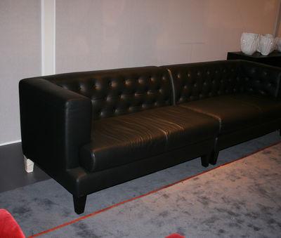 Canape Droit Hall Driade Cuir Capitonne Noir L 278 X H 75 Made