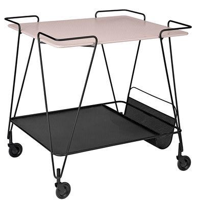 Arredamento - Complementi d'arredo - Carrello/tavolo d'appoggio Trolley - / Matégot - Riedizione 1954 di Gubi - Nero / Piano Rosa - metallo verniciato