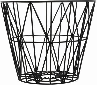 Interni - Bagno  - Cesto Wire Large - Ø 60 x H 45 cm di Ferm Living - Nero - Fil di ferro laccato