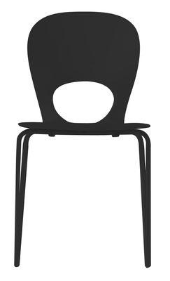 Mobilier - Chaises, fauteuils de salle à manger - Chaise empilable Pikaia / Plastique & pieds métal - Kristalia - Noir - Acier verni, Polyuréthane