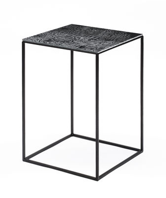 Furniture - Coffee Tables - Slim Irony Art Coffee table - Hotted glass - L 31 x H 46 cm by Zeus - 31 x 31 x H 46 cm / Hotted glass - Glass with aluminium film, Steel