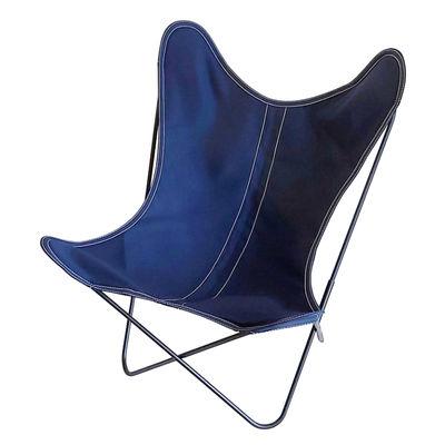 Mobilier - Fauteuils - Fauteuil AA Butterfly OUTDOOR / Coton - Structure noire - AA-New Design - Bleu encre - Acier thermolaqué, Coton traité pour l'extérieur