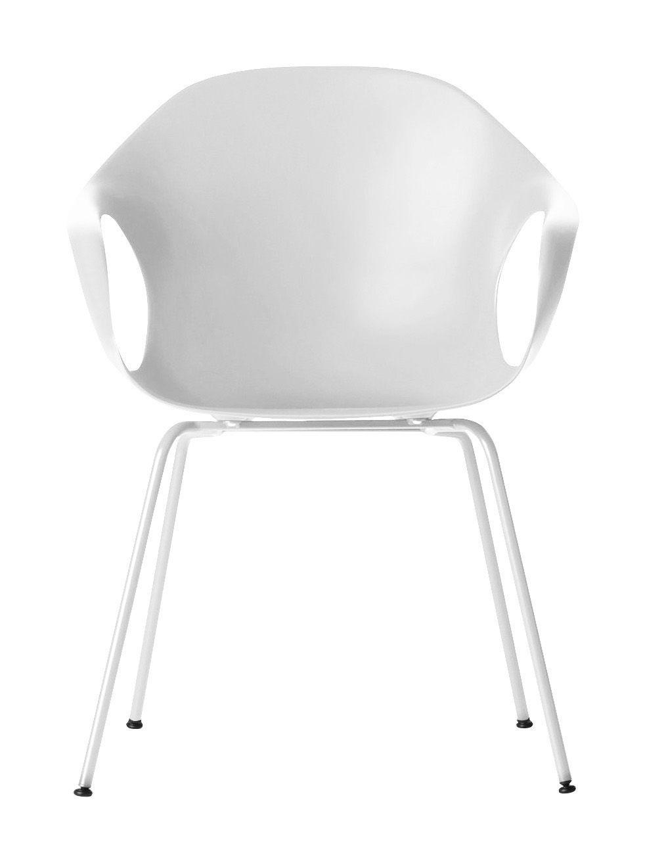 Mobilier - Chaises, fauteuils de salle à manger - Fauteuil Elephant / Coque plastique & pieds métal - Kristalia - Blanc - Acier laqué, Polyuréthane laqué