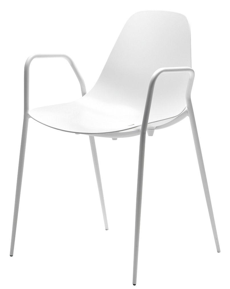 Mobilier - Chaises, fauteuils de salle à manger - Fauteuil empilable Mammamia / Coque et pieds métal - Opinion Ciatti - Blanc - Aluminium, Métal