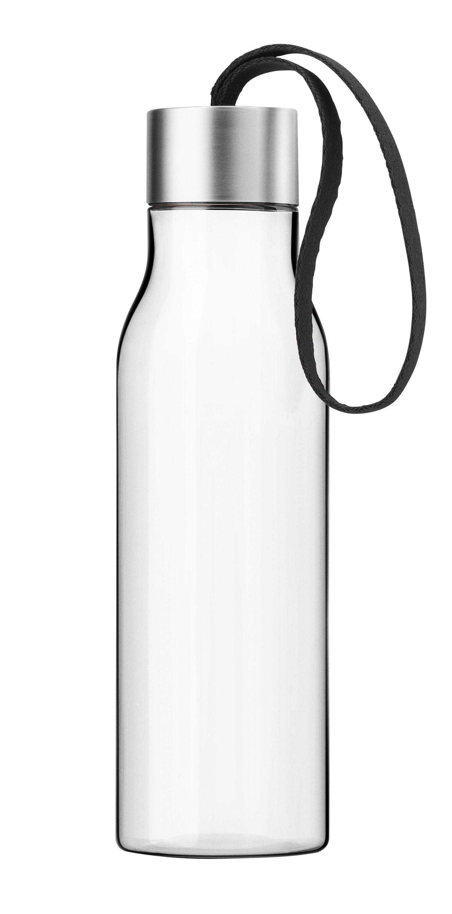 Arts de la table - Carafes et décanteurs - Gourde Small 0,5 L / Bouteille nomade plastique écologique - Eva Solo - Cordon noir / Transparent - Plastique écologique