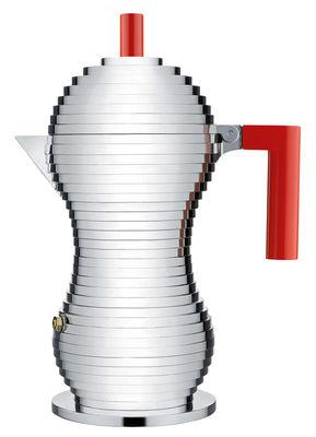 Tischkultur - Tee und Kaffee - Pulcina italienischer Kaffeebereiter / für Induktionsherde - fasst 6 Tassen - Alessi - Fasst 6 Tassen / rot & chrom-glänzend - Gussaluminium, Plastik