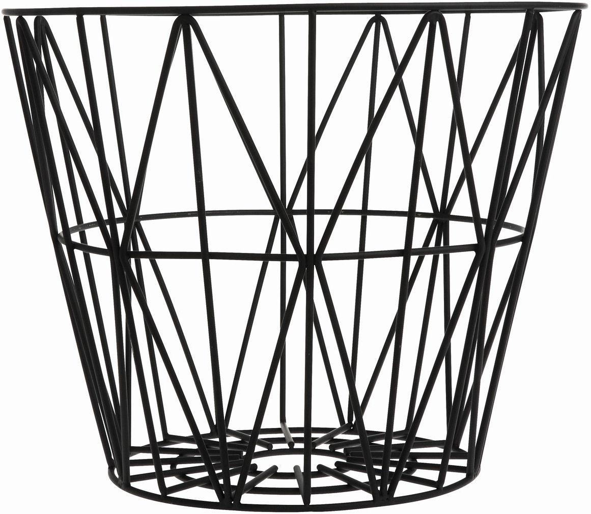 Dekoration - Badezimmer - Wire Large Korb Ø 60 x H 45 cm - Ferm Living - Schwarz - Fil de fer laqué