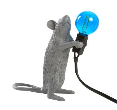 Interni - Per bambini - Lampada da tavolo Mouse Standing #1 - / Topo in piedi di Seletti - Topo in piedi / Grigio - Resina