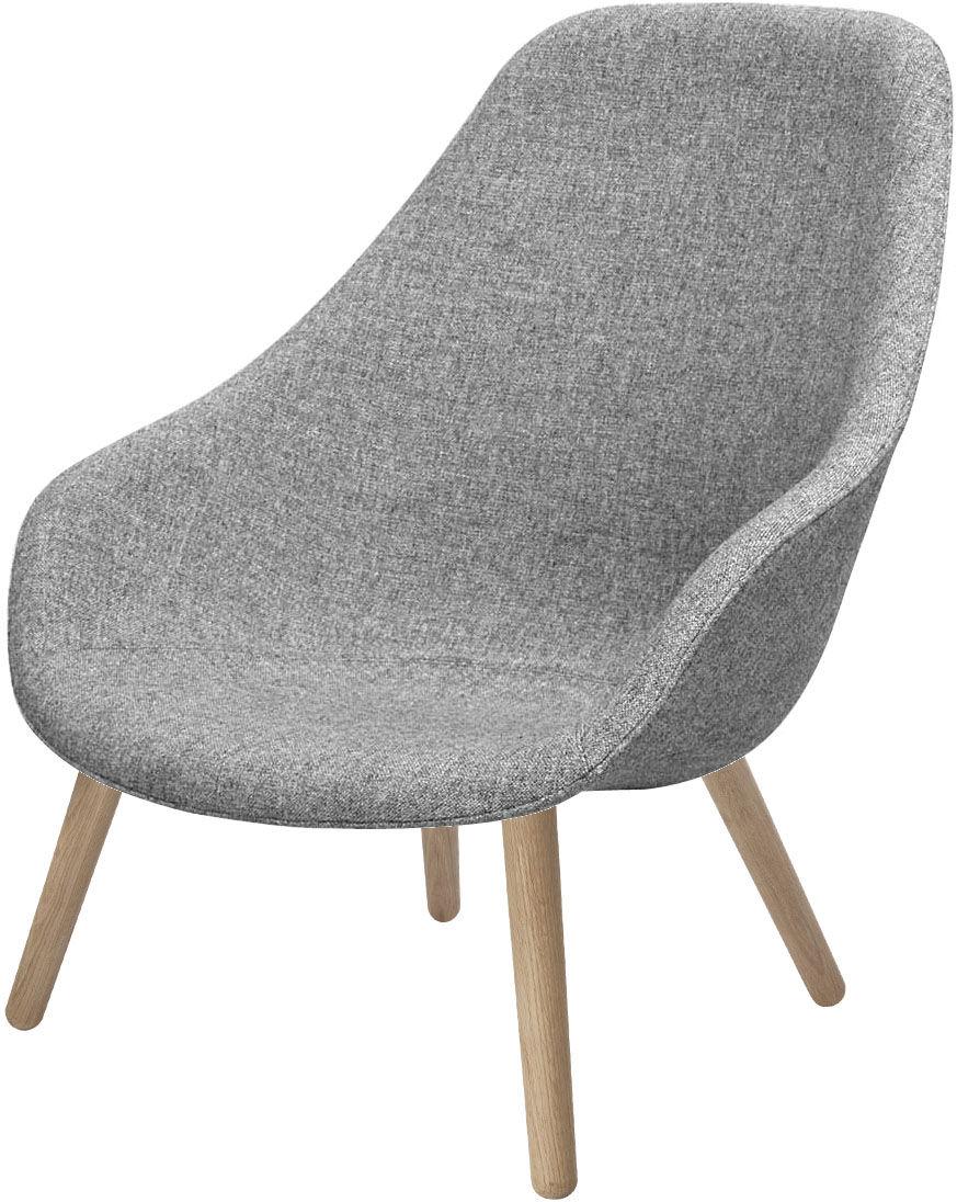 Vitrine UK - Vitrine Mobilier UK - About a Lounge High Lounge Sessel / Hohe Lehne - Stoff Hallingdal - Hay - Gestell natur / Sitzfläche hellgrauer Stoff - Eiche, Gewebe