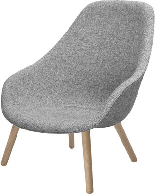 Vitrine UK - Furniture showcase UK - About a Lounge High Low armchair - High back - Hallingdal fabric by Hay - Natural legs / Light grey fabric seat - Fabric, Oak