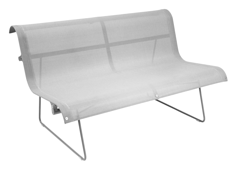Arredamento - Panchine - Panca con schienale Ellipse - 2 posti - L 130 cm di Fermob - Grigio metallo - Acciaio laccato, Tela poliestere