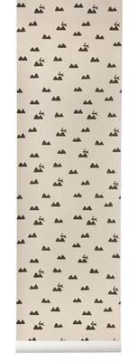 Papier peint Rabbit / 1 rouleau - Larg 53 cm - Ferm Living noir,rose pâle en papier