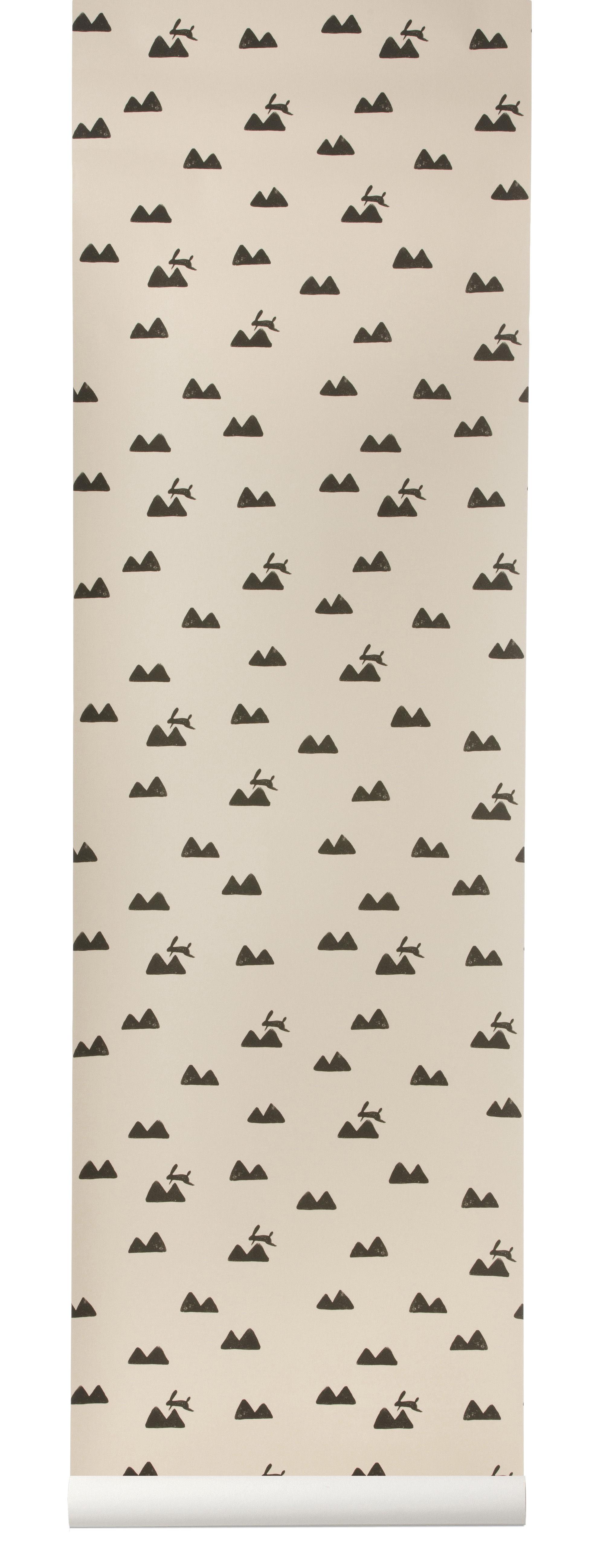 Déco - Pour les enfants - Papier peint Rabbit / 1 rouleau - Larg 53 cm - Ferm Living - Rose / Noir - Toile intissée