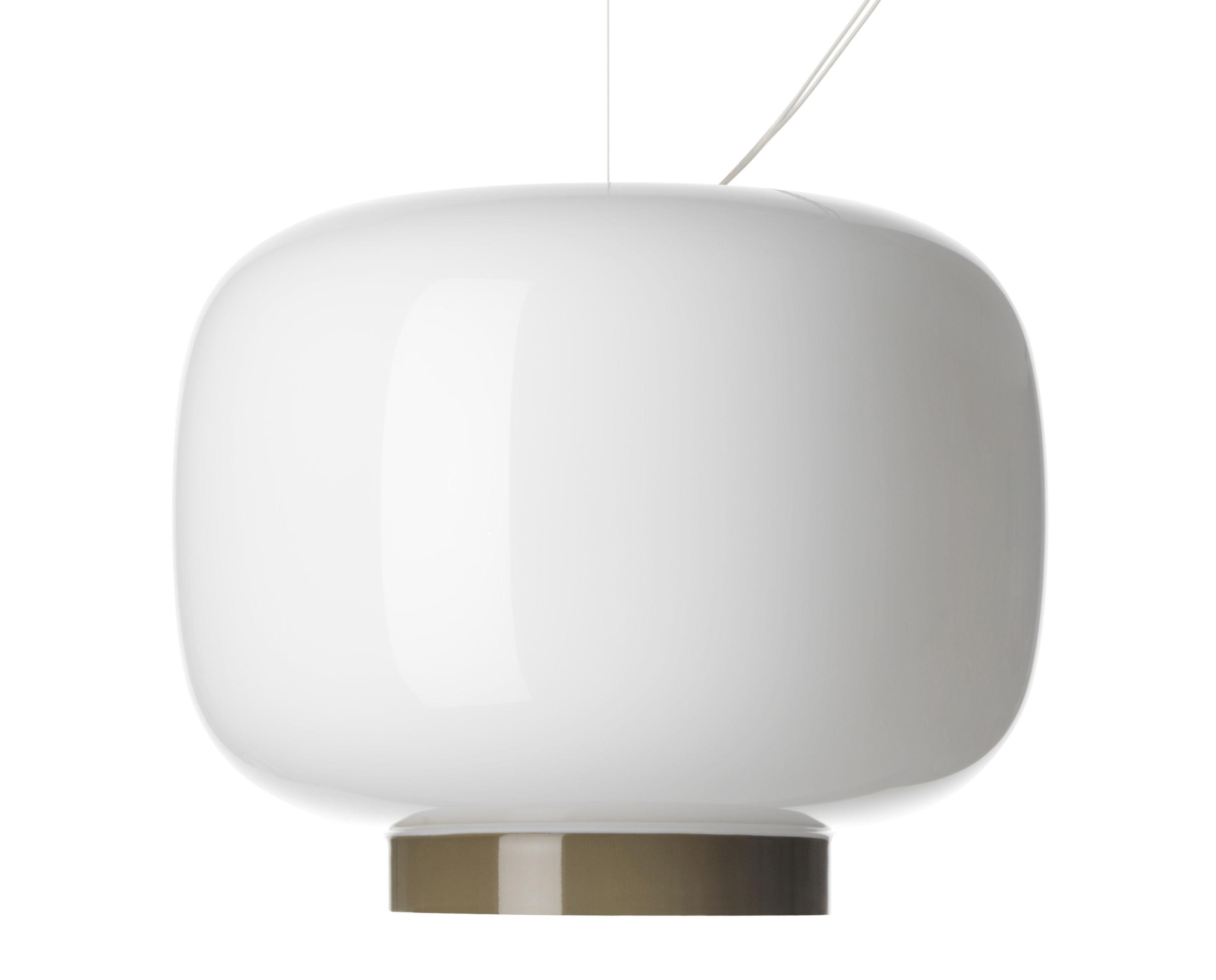 Leuchten - Pendelleuchten - Chouchin Reverse n°3 Pendelleuchte / Ø 30 cm x H 25 cm - Foscarini - Weiß / Abschlussstreifen grau - Glas, mundgeblasen, lackiert